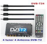 DVB-T24 Car DVB-T2 телевизионного приемника 4 тюнер 4 Антенна USB HDTV HDMI высокой скорости