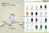 Bottiglia di plastica dell'acqua ambrata dell'animale domestico che ricicla con le bottiglie della bevanda del coperchio a vite