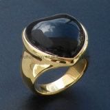 Камень вырезывания и кольцо стали формы сердца DIP золота заполированности