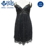 Qualité noire de robe de glissade de dames de lacet