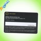 Cartão plástico do código de barras com parte inferior metálica da impressão em ambos os lados
