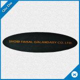 Uso tejido dimensión de una variable oval de las escrituras de la etiqueta de la cañería para arropar la tela