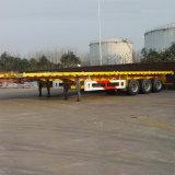 Semitrailer do recipiente do eixo da base lisa 3 de 40FT