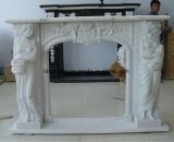 Mensola del camino della pietra del camino intagliata marmo bianco con Stlyle europeo