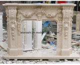 Mantel de pierre de cheminée découpé par marbre blanc avec Stlyle européen