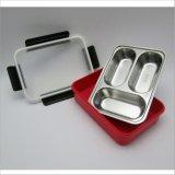 rectángulo de almuerzo de Bento del acero inoxidable 1100ml con 3-Compartment 22116