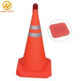 O cone de tráfego recolhível, dobra o cone de tráfego para a Segurança Rodoviária