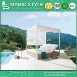 Hotel Wicker Sunbed com almofada Outdoor Daybed com travesseiros Garden Sun Bed Rattan Wicker Daybed Leisure Wicker Double-Bed Patio Furniture