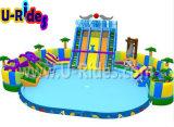 Parque móvel inflável da água para o divertimento em ao ar livre
