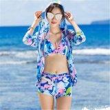 Tessuto dello Swimwear stampato kimono di nylon nero (ASQ100)
