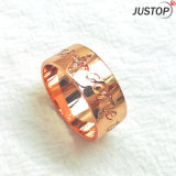 ジルコンの石のローズの金によってめっきされるめっきの真鍮の銅のレタリングのリング