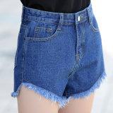 Court-circuit à laver cassée de haute qualité Lady Jeans avec lavage spécial (HDLJ0038-17)