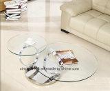 移動可能な二重ガラス金カラーコーヒーテーブル