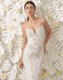 Robe de mariage arrière fine de robe nuptiale de lacet de sirène de Tulle de collet d'amoureux de courroie de spaghetti