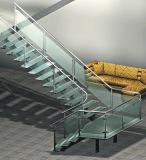Stringer de acero de lujo de vidrio escaleras de madera de roble Baranda escalera paso