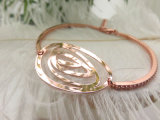 Venda por grosso de Fábrica Nova Fashion Rose banhado a ouro Big Rose Eye Shape Bangle zircónia para Mulheres