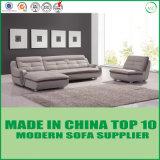 Couro modular Funriture L secional de madeira sofá do escritório da forma