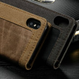 Крышка случая телефона бумажника наградных джинсыов кожаный на iPhone x
