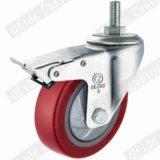 Surface plane en polyuréthane rouge Roulette industrielle de roue avec roulement à billes de précision simple (G2212)