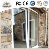 Puerta plástica de la inclinación y de la vuelta de la fábrica de la fábrica de China de la fibra de vidrio barata barata del precio con la parrilla adentro