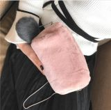 Bolsa bandolera de felpa con bolas esponjosas al hombro bolsos de mano