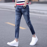 ベルト(HDMJ0021-17)の多彩なパターンが付いている壊れた洗浄の人のジーンズ