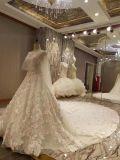 Vestido de casamento luxuoso do vestido de esfera do laço do xaile 2017