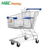 Type de chariot de supermarché asiatique avec des roues pivotantes.