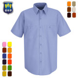 رجال منفعة قصيرة كم مبلمر قطر نسيج قطنيّ عمل قميص