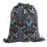 Venta caliente mochila de lona de promoción de la bolsa de cordón de ajuste de las mujeres