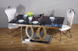Столовая мебель из закаленного стекла верхней части обеденный стол из нержавеющей стали
