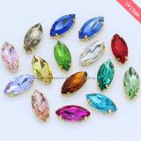 Het Glas van uitstekende kwaliteit naait op het Plaatsen van de Klauw van het Bergkristal Kristallen voor Handtassen (SW-Navette/7*15mm)