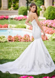Trägerlose Swetheart Brautkleid-Nixe-Silber-Spitze-Ivory Satin-Hochzeits-Kleid 2018 S51249