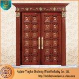 Desheng doble puerta de madera de lujo en diseños de casas en Kerala
