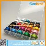 Rosca Prewound bobinas de plástico de tamanho de um lado para bordado domésticos 25 bobinas de cores diferentes
