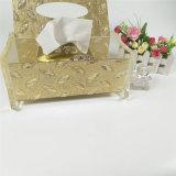Caixa acrílica do tecido do Lucite do quadrado dourado da cor