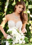 Платье цвета слоновой кости венчания 2018 S51249 сатинировки без бретелек шнурка серебра Mermaid мантий Swetheart Bridal