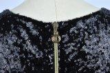 Платье черноты части оптового края Tassel Sequins повелительниц глянцеватого плотно одно