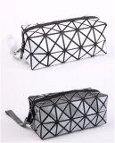 Geométrico componer el bolso cosmético del bolso de la cremallera del bolso del maquillaje de cuero cosmético de la PU con el diamante de destello