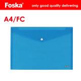 Bonne qualité A4/FC/Lt Couleur transparente fichier PP bouclée Pocket