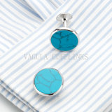 VAGULA Silver Plated Turquoise Round Cuff Links 702