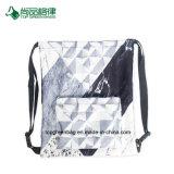 Poche géométrique noire et blanche en gros de sac de cordon de poche d'avant de polyester de configuration pour des garçons et des filles