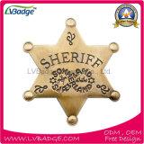 Divisa por encargo del sheriff del metal de la estrella del oro