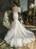 スパゲッティレースの人魚のイブニング・ドレスのウェディングドレス