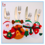 フォークのナイフの食事用器具類袋表の装飾のためのクリスマス