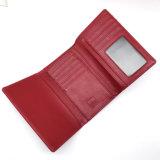 Малое красное портмоне створки с черной кромкой