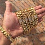 다이아몬드 걸쇠 금 남자를 위한 쿠바 링크 사슬 목걸이