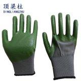 폴리에스테 니트릴을%s 가진 진한 녹색 종려와 핑거 장갑은 입혔다