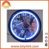 Reloj de pared de neón plástico barato decorativo casero de 12 pulgadas