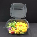 正方形のシールのタンパー明白なサラダボックスペットプラスチック